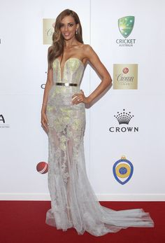 LOVE this J'Aton dress Rebecca Judd is wearing at the 2012 Allan Border Medal.  Those J'Aton boys, they can do no wrong.