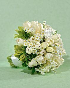 Brautstrauß Inspirationen Weiß Grün Tulpen Gänseblümchen ...