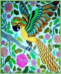 Auteur: Sylvaine Chatellier - Revue: Coloriage évasion  n°15 - Éditions MEGASTAR® France. Cute Owl, Little Birds, Owls, Jr, Colorful, France, Painting, Coloring Pages, Animaux