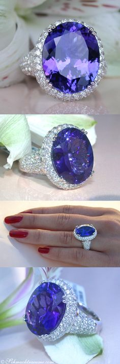 Luxury: Tanzanite (12,51cts) Diamond Ring, WG18K - Visit: schmucktraeume.com - Like: https://www.facebook.com/pages/Noble-Juwelen/150871984924926 - Mail: info@schmucktraeume.com