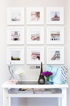 Instagram Wall Gallery with white mats and white frames in 3x3 formation over a hall cadenza #frames #artwall
