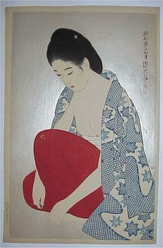 Ito SHINSUI (1898-1972). Cutting the nails from the Second Series of Modern Beauties.