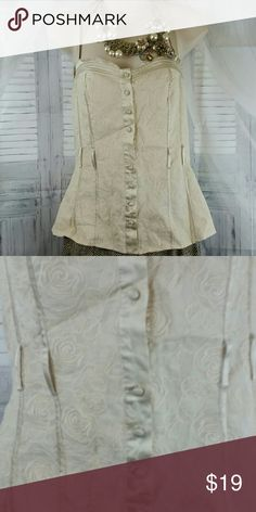 BeBe brand Corset Like Top BeBe brand Corset Like Top, like a corset but not quite . cream colored, missing a button as shown in 2nd pic otherwise great condition Women's medium bebe Tops
