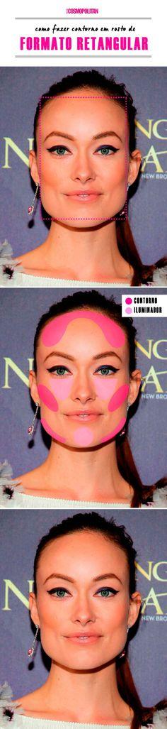 contorno para rosto retangular