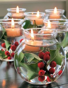 Holly and candle in water for a lovely holiday decoration from Inspiremeheather.com ~~