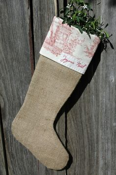 Scandinavian inspired Christmas stocking... sew burlap red white vintage contry