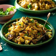 Mushroom, walnut and cauliflower tagliatelle   Recipes   Pick n Pay Online Shopping Tagliatelle Recipes, Vegan Options, Cauliflower, Online Shopping, Stuffed Mushrooms, Pasta, Ethnic Recipes, Food, Stuff Mushrooms