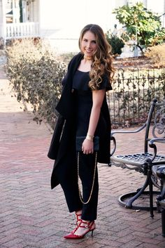 Louis Vuitton Crossbody   Ralph Lauren Coat   Eliza J Jumpsuit   Red Valentino Heels   Kendra Scott Cuff   Gold Choker   Kendra Scott Earrings