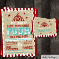 Birthday Party Invitation, Thank-you card Combo - Vintage Mod. Circus Poster Theme, Aqua White and Red 5X7 on Etsy, $20.50