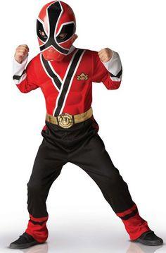 Disfraz Power Rangers™  Samurai rojo: Este disfraz de Power Rangers™ Samurai está compuesto por una mono y una semi máscara. El conjunto negro y rojo está relleno e incluye un cinturón dorado. Tiene...
