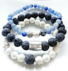 Check out this item in my Etsy shop https://www.etsy.com/ca/listing/252295767/lava-stone-white-black-and-blue-bracelet