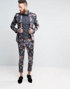 ASOS - Costume super slim à fleurs foncées sur l'ensemble