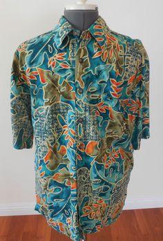 Mens Territory Ahead Short Sleeve Cotton Rayon Camp Shirt Sz L #TheTerritoryAhead #ButtonFront