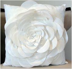 Designer Vintage ivory velvet pillow cover 18x18 inches. $25.00, via Etsy.