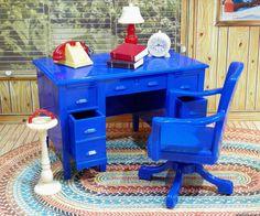 Renwal DESK & CHAIR, PHONE, LAMP, CLOCK Vintage Dollhouse Furniture Ideal Marx #Renwal