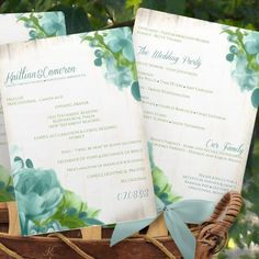 Rustic Painted Wedding Fan Program - DOWNLOAD Instantly - EDITABLE TEXT - Peonies (Soft Blue & Green) 5 x 7 - Microsoft® Word (docx) Format