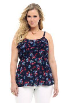 ed2f7a34c0cc2 Blue Floral Ruffle Cami Trendy Plus Size Fashion