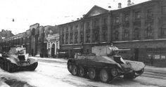 BT-5 Tanks heading for the front along Valadarski St. Leningrad 1941