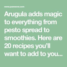 20 Quick and Easy Arugula Recipes - PureWow Italian Rice Dishes, Pumpkin Pizza, Arugula Recipes, Pita Pizzas, Whats Gaby Cooking, Pan Seared Scallops, Onion Tart, Personal Pizza, Walnut Pesto