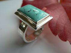 Sterling Silver and Turquoise Ring by GlacierJewellery on Etsy