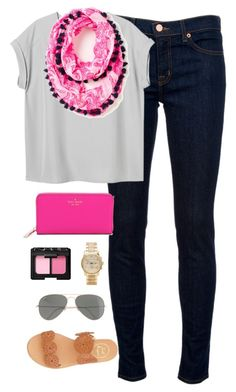 """pop of pink"" by classically-preppy ❤ liked on Polyvore featuring mode, J Brand, Monki, Jack Rogers, Kate Spade, Michael Kors, NARS Cosmetics en J.Crew"