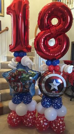 Superhero Balloons, Number Balloons, Helium Balloons, Balloon Stands, Balloon Display, Balloon Gift, Birthday Party For Teens, Superhero Birthday Party, Birthday Party Decorations