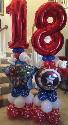 Balloon Arrangements, Balloon Decorations, Birthday Party Decorations, Superhero Balloons, Balloon Designs, Balloon Display, Superhero Birthday Party, Balloon Columns, Balloon Bouquet