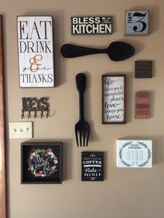 My kitchen gallery wall. All decor from hobby lobby and Ross. Completed the project in 1 hour. It turned out amazing.