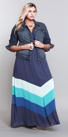 Bright idea... Rock a colorblocked maxi dress with a cute little jean jacket & statement accessories. #ShopByOutfit