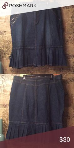 Skirt Very Flattering Blue Jean Skirt wit zipper  pockets on one side and pleats on the bottom, I received so many compliments when I wore this beauty. Ashley Stewart Skirts Midi