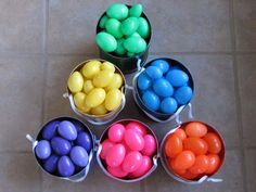 color coded easter egg hunt: i HATED when my brother found all the eggs, so this makes it fair -- kids can only pick up eggs that are their designated color, and the can/basket reminds them which color is theirs!