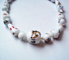 Vintage White Cane Glass Bead Necklace