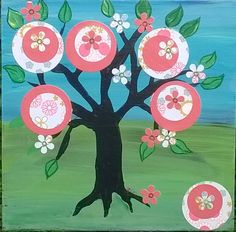 Mexican folk art style Original Mixed Media on upcycled wood Happy Tree of Life #FolkArt