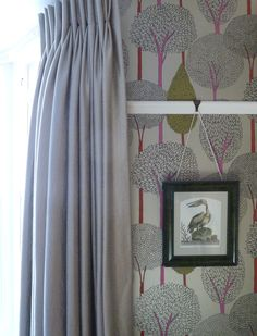 Pinch pleat curtains Harlequin fabric and Harlequin wallpaper