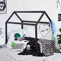 Painted Wooden House Bed with Slats