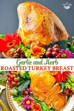 This Garlic and Herb Roast Turkey Breast is crispy on the outside and tender, juicy, and flavorful on the inside -- perfect for Thanksgiving dinner! #Thanksgiving #Christmas #turkey Turkey Dishes, Turkey Recipes, Thanksgiving Recipes, Thanksgiving Turkey, Christmas Turkey, Holiday Recipes, Christmas Foods, Christmas Fun, Holiday Ideas