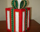 "Christmas ""The Gift"" Plastic Canvas Tissue Box Cover"