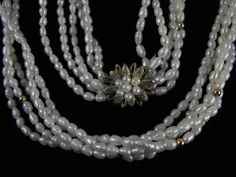 Pearl Torsade Vintage Freshwater Pearl Necklace Sterling Vermeil Florette