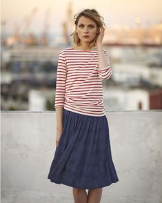 fabric and styling inspiration for the Liesl + Co Maritime Knit Top sewing pattern