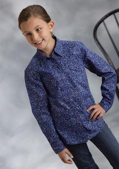 Roper® Grils Blue Vintage Circles Print Long Sleeve Snap Western Shirt