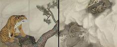"""円山応挙(Maruyama Okyo) """"Tiger and Dragon."""" Pair of two fold screens. Detroit Institute of Art. Japanese Painting, Chinese Painting, Art Japonais, Korean Art, Japanese Artists, Woodblock Print, Dragon, Illustration, Prints"""