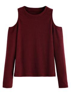 Camiseta de punto con hombros al aire - borgoña-Spanish SheIn(Sheinside)