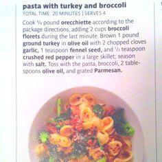 Ground turkey, pasta, & broccoli Turkey Pasta, Broccoli Florets, 300 Calories, Fennel Seeds, Dinner Is Served, Ground Turkey, Favorite Recipes, Homemade