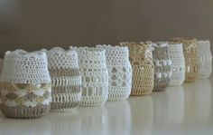 just a little crochet decorates vases, lamps, frames, windows, clothing or pillowcase trimming, etc...