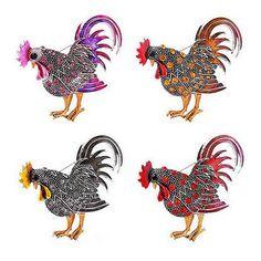 Hợp thời trang con gà trống lớn Brooch mix color pha lê Rhinestone trâm cài animal Trâm Cài cho phụ nữ thời trang trâm đồ trang sức