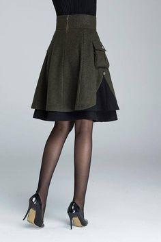 short skirt wool skirt winter skirt layered skirt plus