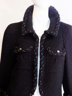2855ba9cf11 Chanel Most coveted black jacket with metal braids details