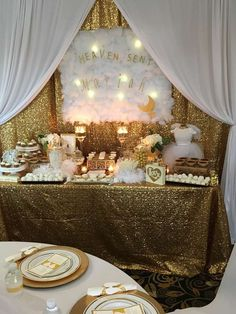Check out this 'Heaven Sent' gold baby shower! See more party ideas and share yours at CatchMyParty.com