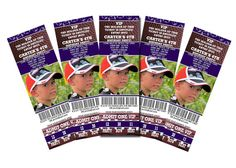 "Birthday party invitations that look like football game tickets. Genius! Says ""wear your favorite jersey""...so cute!!"