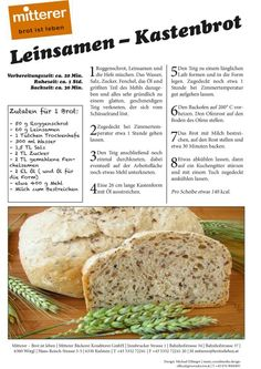 Rezept: Leinsamen - Kastenbrot Mitterer - Brot ist leben